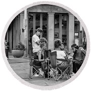 Jackson Square Reading 2 Bw Round Beach Towel