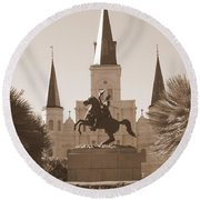 Jackson Square Statue In Sepia Round Beach Towel