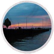 Jackson Street Pier - Sunset Round Beach Towel