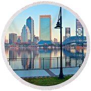 Jacksonville Across The St Johns River Round Beach Towel