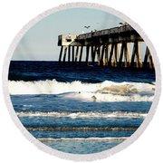 Jacksonville Pier Round Beach Towel