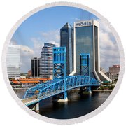 Jacksonville Skyline Round Beach Towel