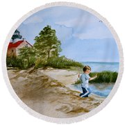 Jacob At East Point  Round Beach Towel