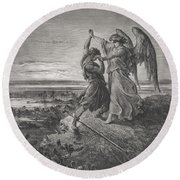 Jacob Wrestling With The Angel Round Beach Towel
