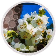 Jacobs Ladder Abstract Flower Painting Round Beach Towel