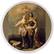 Peter I With Minerva With The Allegorical Figure Of Glory Round Beach Towel