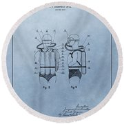 Jacques Cousteau Diving Suit Patent Round Beach Towel