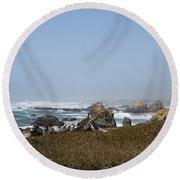 Jagged California Coastline Round Beach Towel