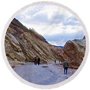 Jagged Edges On Canyon Walls In Golden Canyon Trail In Death Valley National Park-california  Round Beach Towel