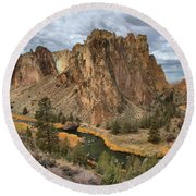 Jagged Peaks And River Reflections Round Beach Towel