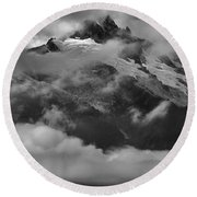 Jagged Peaks Glaciers And Storms Round Beach Towel