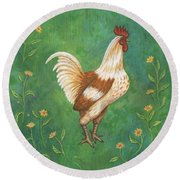 Jagger The Rooster Round Beach Towel