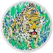 Jaguar - Enamels Painting Round Beach Towel