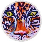 Jaguar Eyes-  Round Beach Towel