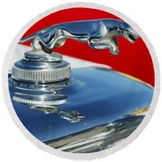 Jaguar Hood Ornament 2 Round Beach Towel