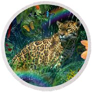 Jaguar Meadow  Variant 1 Round Beach Towel