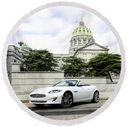 Jaguar Xk And The Capitol Building Round Beach Towel