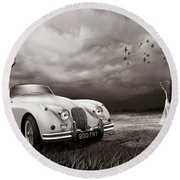 Jaguar Xk150 - Admiring The View Round Beach Towel
