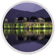Jai Mahal Water Palace Round Beach Towel