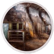 Jail - Eastern State Penitentiary - Sick Bay Round Beach Towel by Mike Savad