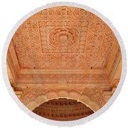 Jain Temple Ceiling - Amarkantak India Round Beach Towel