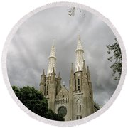 Jakarta Cathedral Indonesia Round Beach Towel