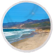 Jalama Beach Santa Barbara County California Round Beach Towel