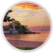 Jamaican Sunset Round Beach Towel