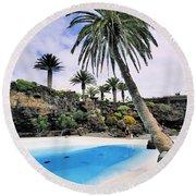 Jameos Del Agua On Lanzarote Round Beach Towel
