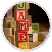 James - Alphabet Blocks Round Beach Towel