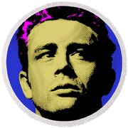James Dean 002 Round Beach Towel