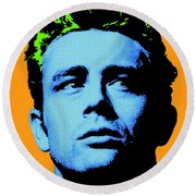 James Dean 004 Round Beach Towel