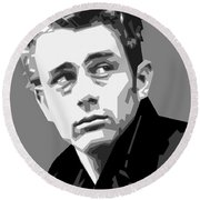 James Dean In Black And White Round Beach Towel