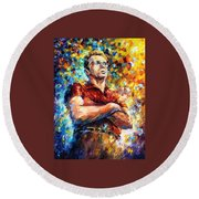 James Dean - Palette Knife Oil Painting On Canvas By Leonid Afremov Round Beach Towel