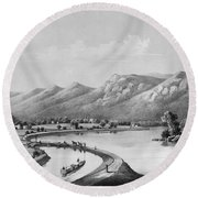 James River Canal, 1857 Round Beach Towel