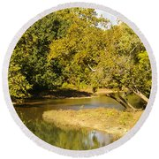 James River In The Fall Round Beach Towel