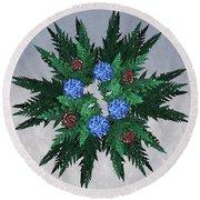 Jammer Blue Red Snow Wreath Round Beach Towel