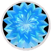 jammer Blue Shimmer Lotus Round Beach Towel