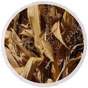 Jammer Corn Abstract 001 Round Beach Towel