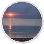 Flash Sunset Lake Huron By Jammer Round Beach Towel