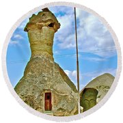 Jandarma Or Police Station In A Fairy Chimney In Cappadocia-turkey  Round Beach Towel