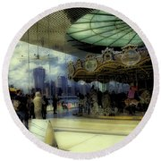 Jane's Carousel 3 In Dumbo Round Beach Towel