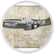 Janie P-51d Mustang - Map Background Round Beach Towel