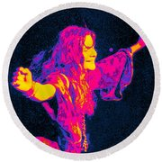 Janis Joplin Psychedelic Fresno 2 Round Beach Towel by Joann Vitali