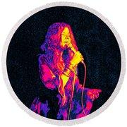 Janis Joplin Psychedelic Fresno  Round Beach Towel by Joann Vitali