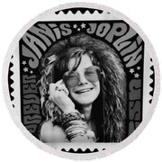 Janis Stamp In A Black And White Vibe Round Beach Towel