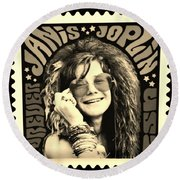 Janis Stamp In A Sepia Vibe Round Beach Towel