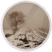 January Fog Round Beach Towel