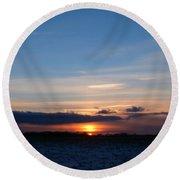 January Sunset 2 Round Beach Towel