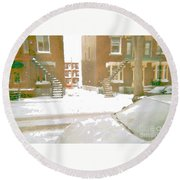 January Winter Street Winding Snow Covered Staircase Montreal Art Verdun Duplex Painting Cspandau Round Beach Towel
